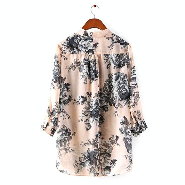 Леди восточный бабочка цветочные принты свободного покроя блузка 3/4 рукавом V шеи мягкий розовый шифон XL размер 214203