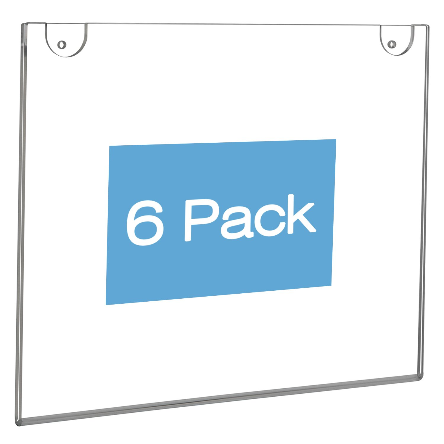 NIUBEE Wall Mount Sign Holder 11 x 8.5 Inch- Clear Acrylic Picture Frame for Paper- Horizontal(6 Pack)