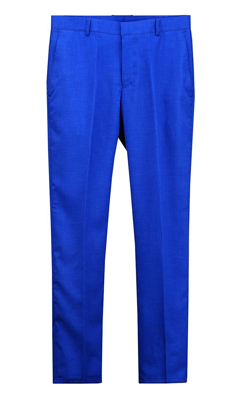 9fb25bf9017 Get Quotations · ByTheR Men s Vivid Summer Cooling Formal Suit Blue  Straight Slacks Linen Pants