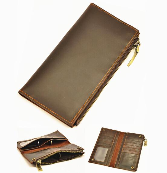 698d04446b Men Wallets 100% Genuine Leather Long Wallet Purses Zipper Coin Pocket Card  Holder bag Mobile Phone Handbag Clutch Wallet Male 8