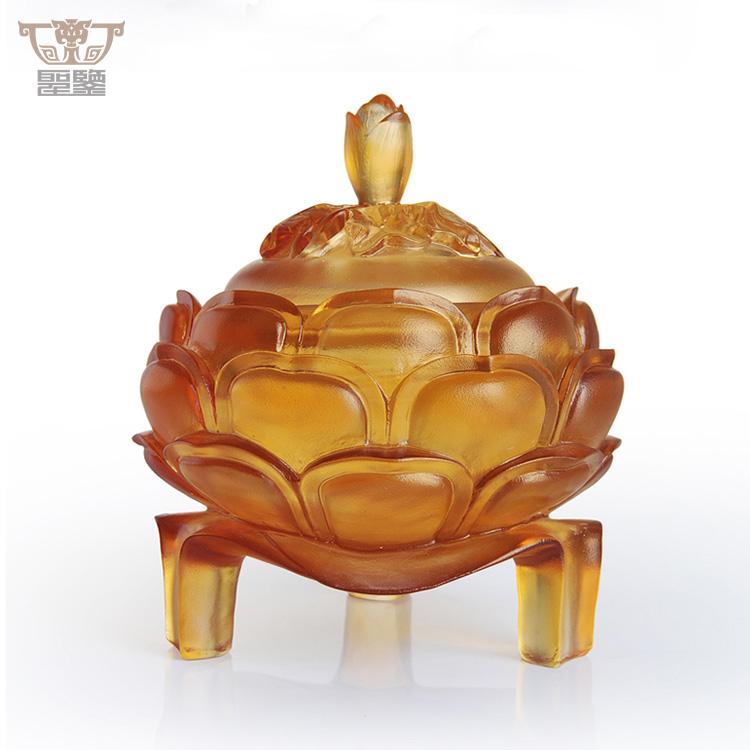 Hecho a mano Liuli de vidrio de Arte de loto flor fragancia quemador de incienso de gran tamaño