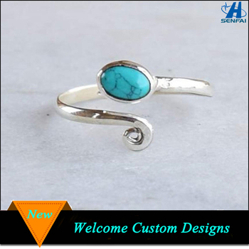 Jewelry Fashion Rings Silver Tone Artificial Turquoise Stone Ring