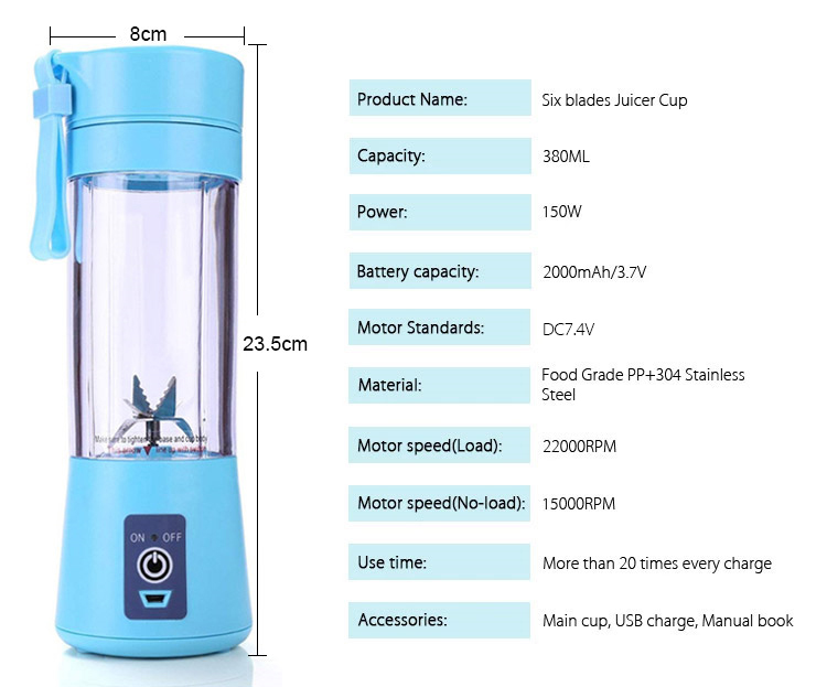 ¡Oferta! ¡Nuevo Modelo de Amazon! Licuadora eléctrica portátil de 6 cuchillas, Mini taza de 380ML, licuadora de fruta para viaje, máquina de comida para bebés