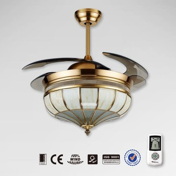 Hidden Ceiling Fan noble decorative retractable fan with light and hidden blades