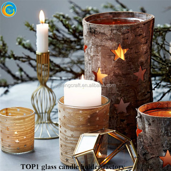 Cork Wrapped Candle Holders Wedding Centerpiece Engraved Natural