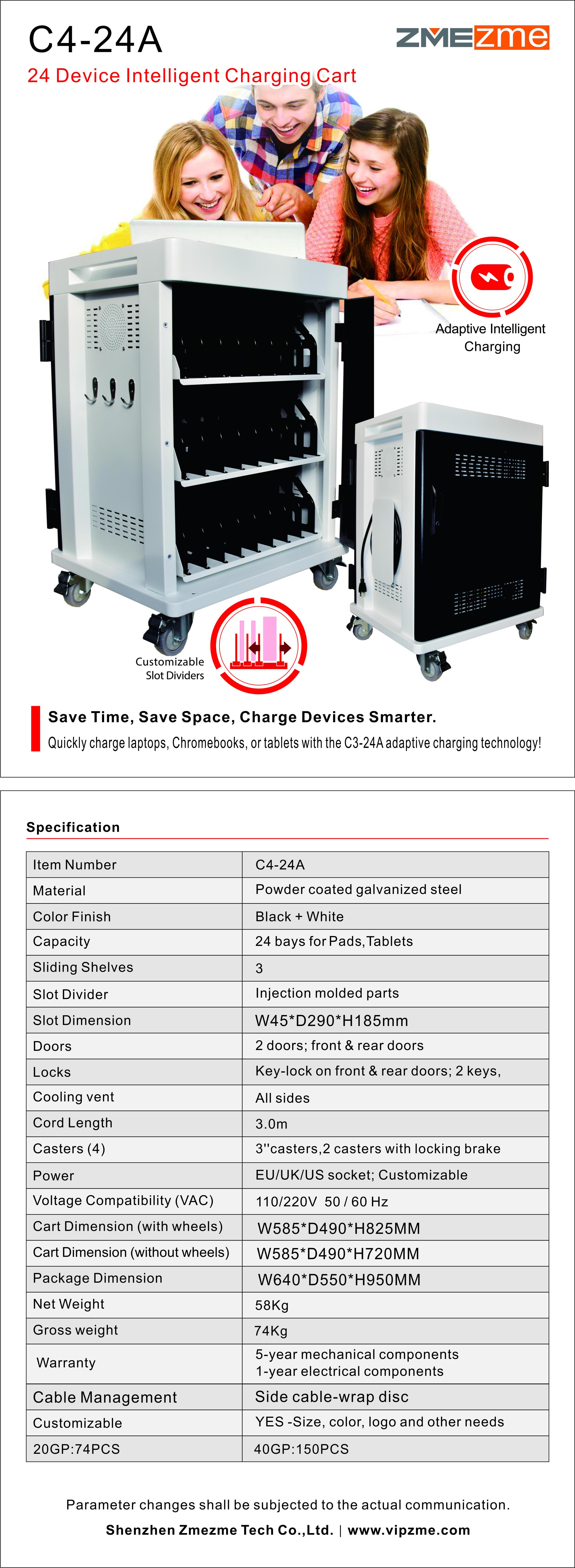 ZMEZME 32 compresse chrome libro ipad metallo di ricarica di stoccaggio trolley/carrello/cabinet