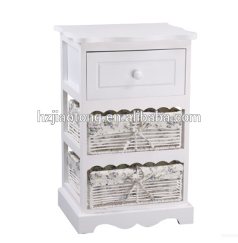 SMALL WICKER CABINET WITH WOODEN DRAWER PE STORAGE BASKET