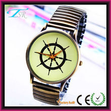 Simple metal alloy cheap custom logo black stretch band watch for the elderly