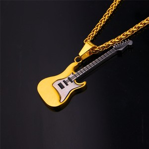 Guitar Necklace For Men/Women Music Lover Gift Black/Gold Color Stainless Steel Pendant & Chain Jewelry necklace