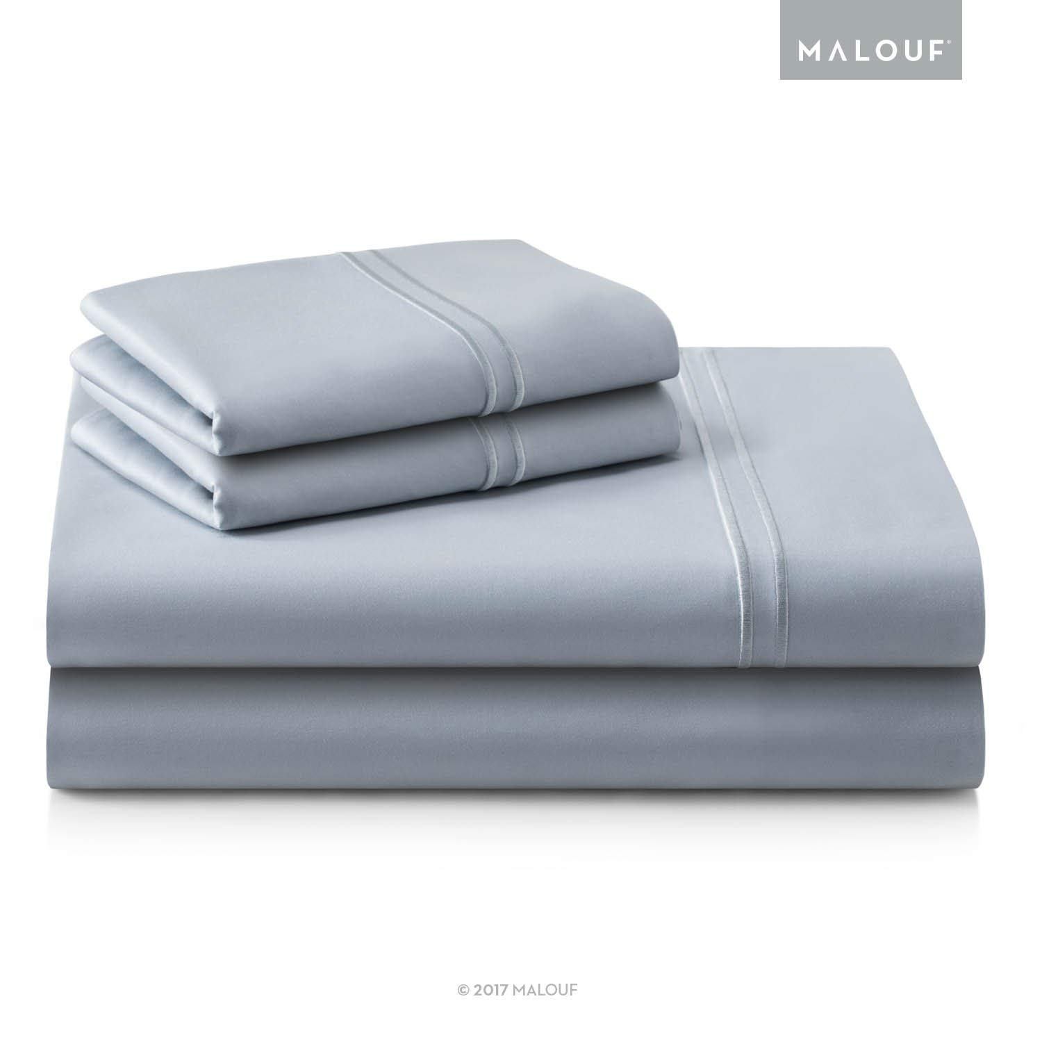 WOVEN SUPIMA Premium Cotton Sheets - 100 Percent American Grown - Extra Long Staple - Sateen Weave - Extra Deep Pockets - Single Ply - 600 Thread Count - King - Smoke