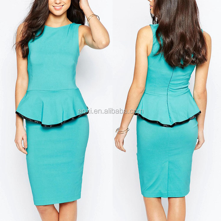Alibaba dresses career style fashion sleeveless peplum dress for work