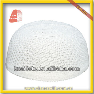 Good quality crotch islamic men prayer cap in white