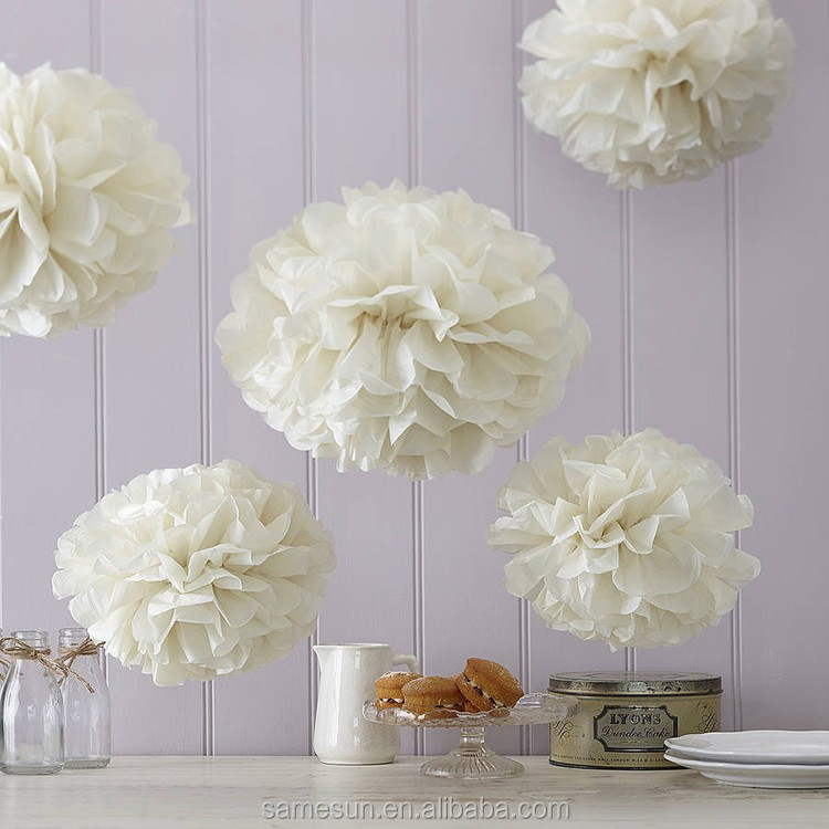 Beige Color Tissue Paper Flower Ball For Wedding Party - Buy Flower ...