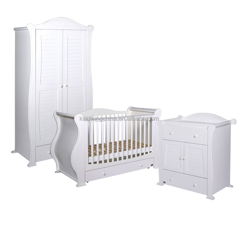 3 Piece Kids White Bedroom Furniture Set Baby Cot Chest Of Drawers Wardrobe Antique Royal
