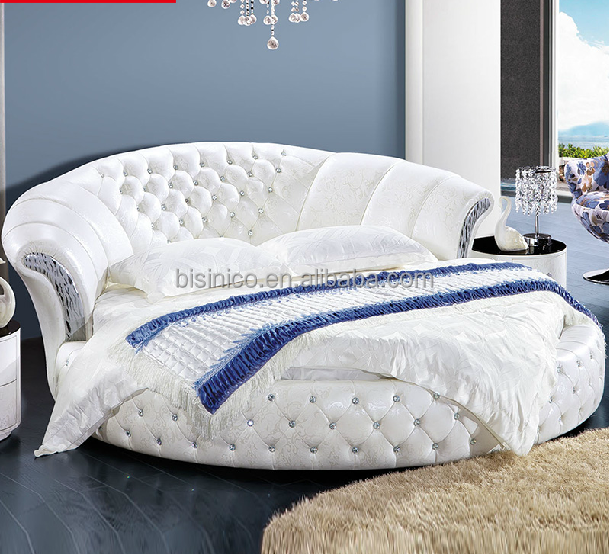 Modern Design Pure White Genuine Leather Round Bed   Buy Round Bed,Leather Round  Bed,White Leather Round Bed Product On Alibaba.com