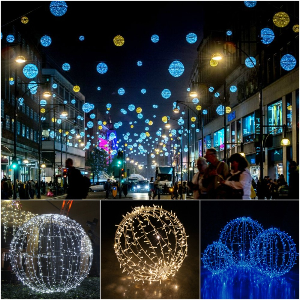 Led Christmas Lights Outdoor Hanging 3d Sphere Xmas Ball
