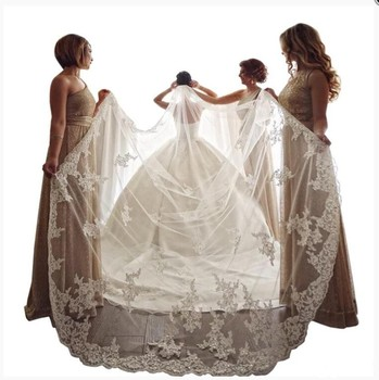 ZH1411Q Lace Applique Sequins 400cm Cathedral Length Bride Wedding Veil Single One Layer White Ivory Bridal Veils