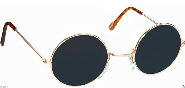 John Lennon Sunglasses Round Shades Gold Frame Black Lenses Retro