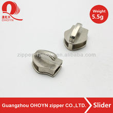 Polished shiny zipper slider head lead free slider body nickel color non lock slider