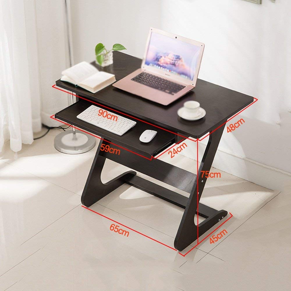 Tables MEIDUO Small Computer Desk Simple desk Home computer desk Small apartment desk Desktop computer desk With keyboard (Color : Black)