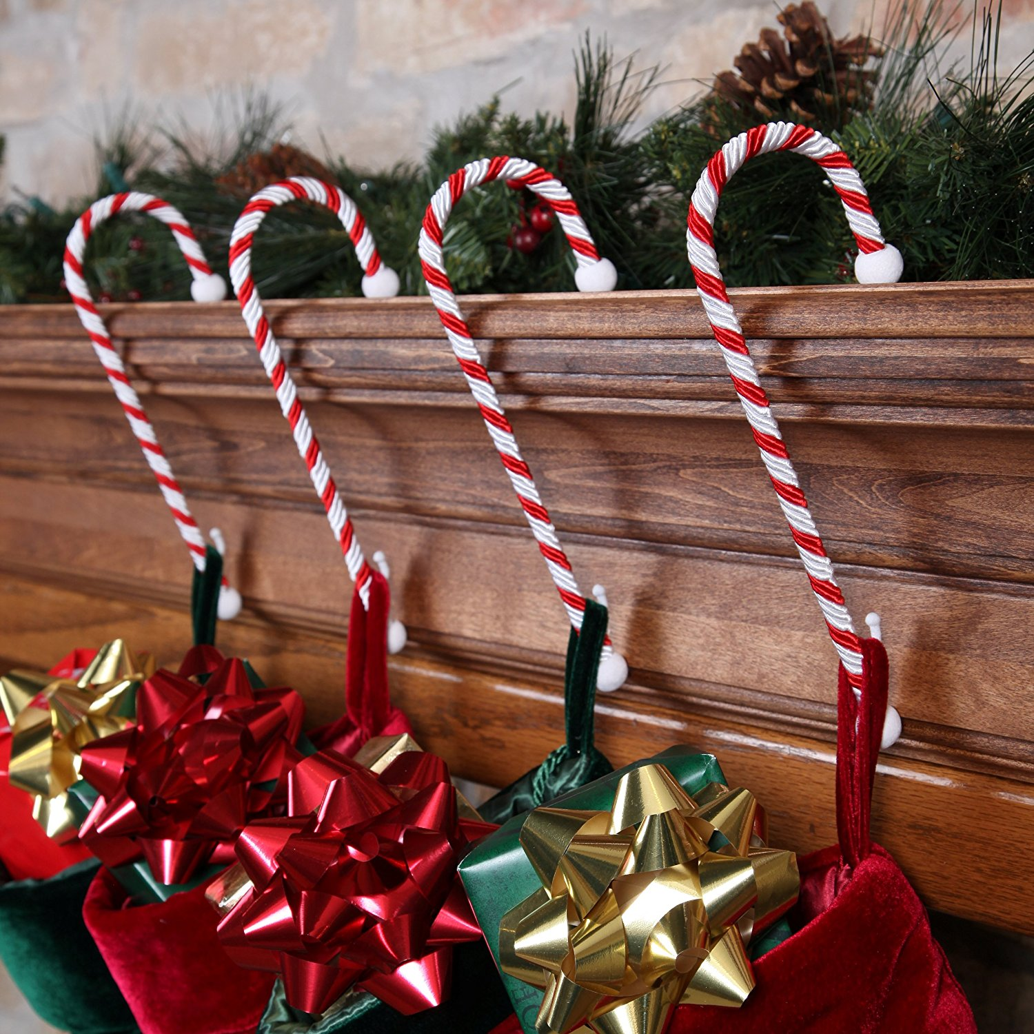 get quotations set of four candy cane stocking holders - Decorative Christmas Stocking Holders