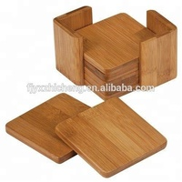 Wholesale Bamboo Wooden Square Drinking Coasters with 6pcs mat for Drinks with Holders