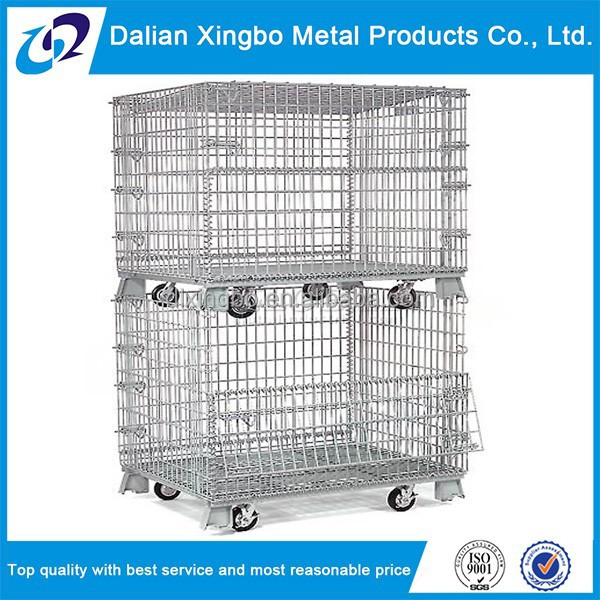 collapsible galvanize wire storage basket with wheels