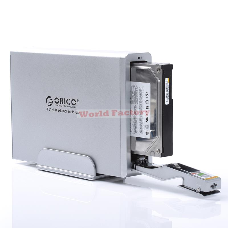 "Limited Special Offer 3.5"" Aluminum Usb Orico 7618us3-sv External Hdd Enclosure 3.5 Sata With 12v2.5a Power Adapter-silver"