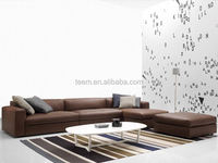 modern home furniture soft sofa set with stool wood trim sofa