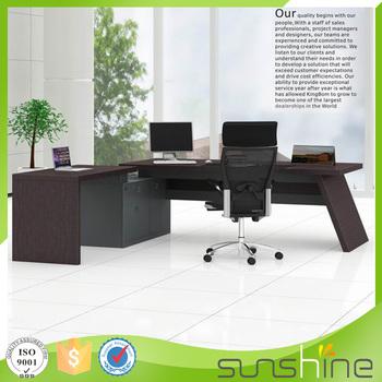 Modern Office Furniture Price High End Natural Black Oak Veneer Executive Desk With Side