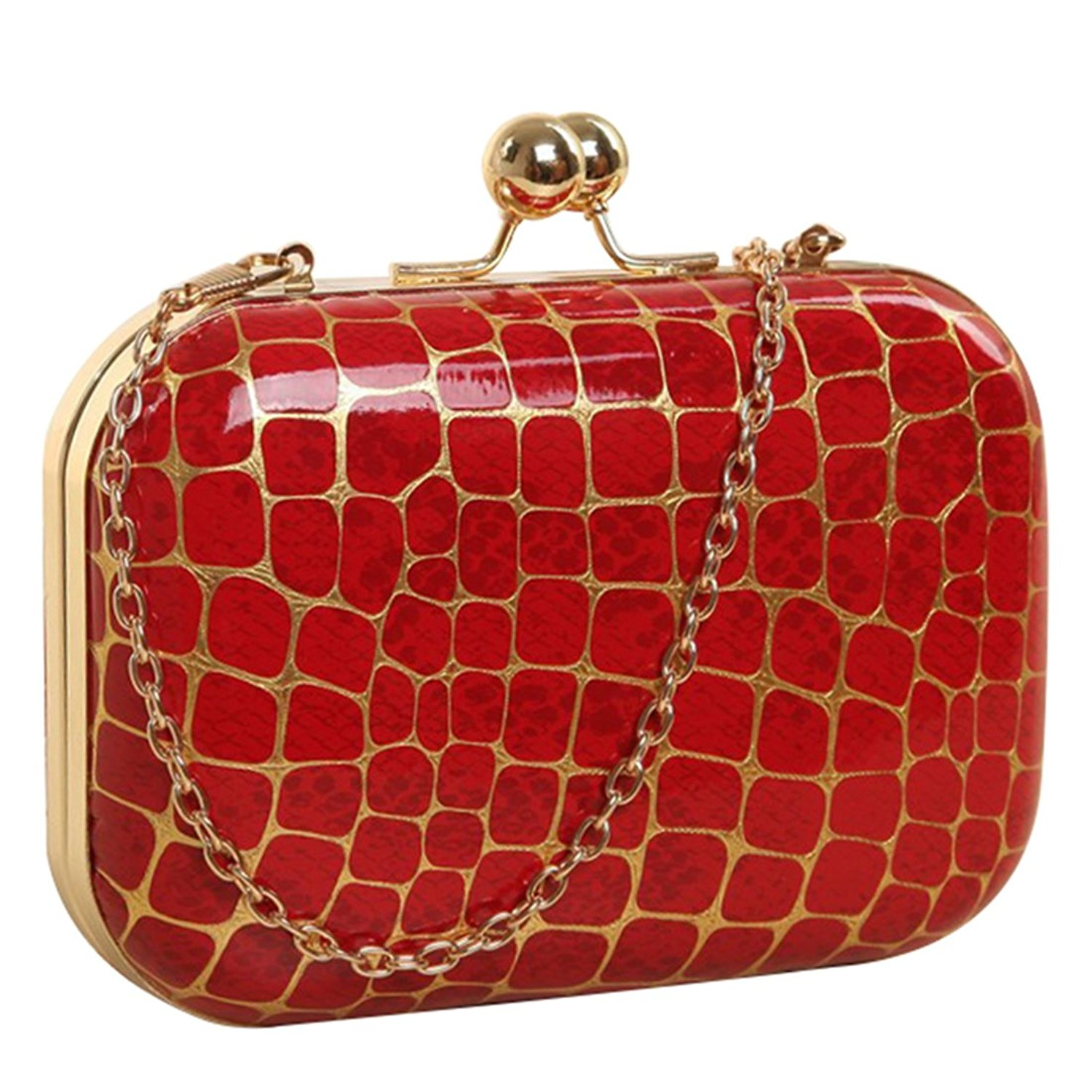 Retro Stone pattern Girls Shoulder Bag - SODIAL(R)Retro Stone pattern PU leather Women's mini evening bag fashion clutch banquet bag girls shoulder bag Messenger bag, Red