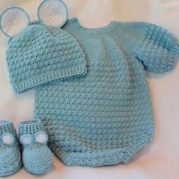 Blue Baby Romper Hand Crochet Knitwear Buy Crochet Knitwear