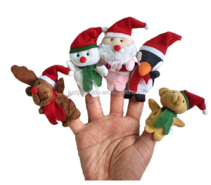 2018 custom cartoon animal finger puppets Christmas gift wholesale mini plush toy factories in China
