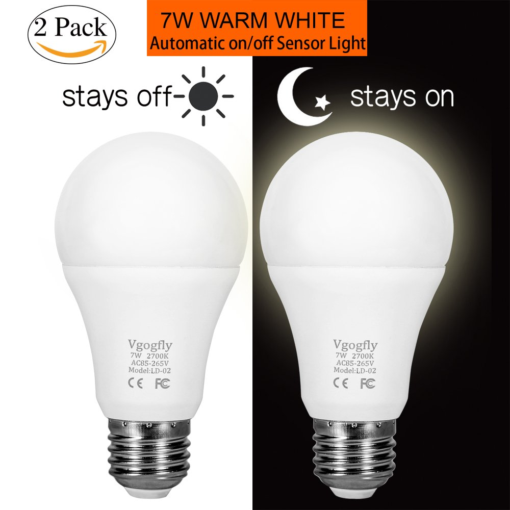 Get Quotations Sensor Lights Bulb Dusk To Dawn Led Light Bulbs Smart Lighting Lamp 7w E26 E27