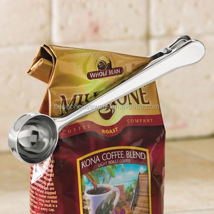 LFGB 430 Stainless Steel Coffee Spoon with bag clip