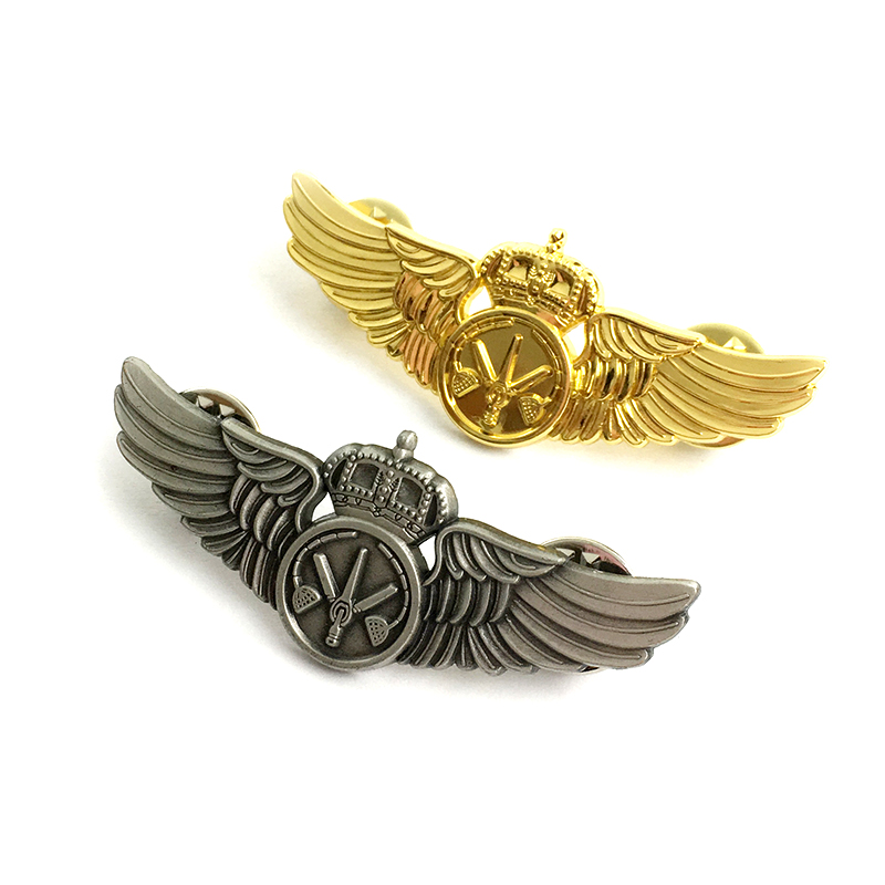 OEM <strong>custom</strong> 3D metal wings shape pilot badge pin for gift souvenir