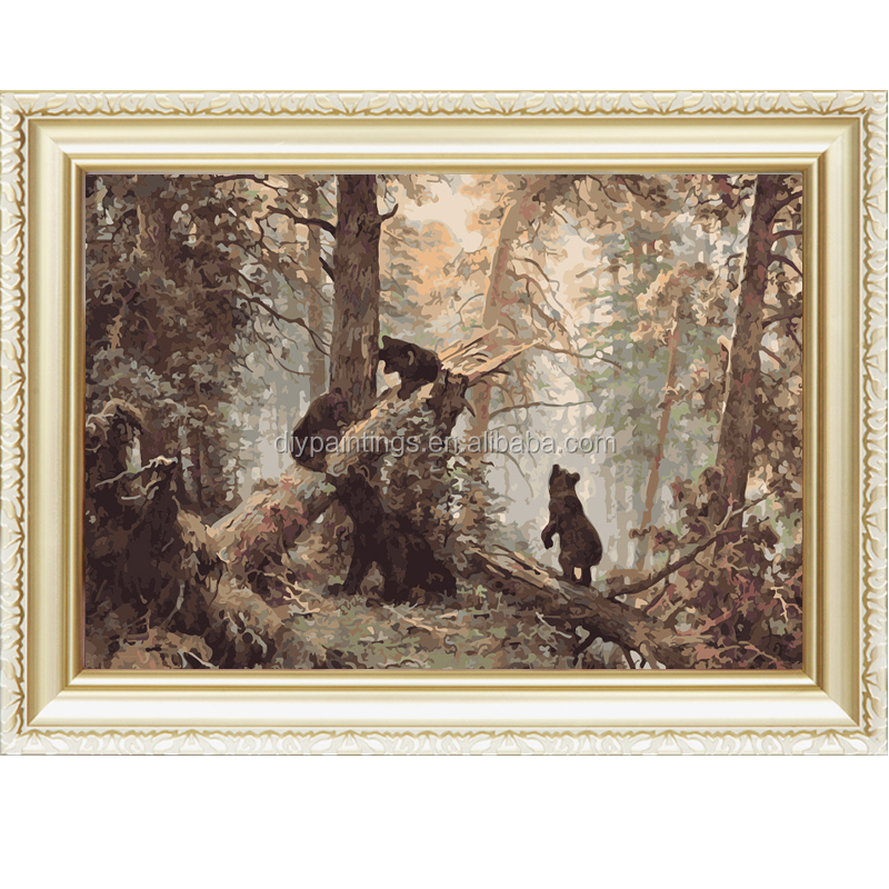 China factory supply bear in the forest animal diy oil painting by numbers