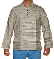 Khadi Light Brown Cotton Mens Short Kurtas Online