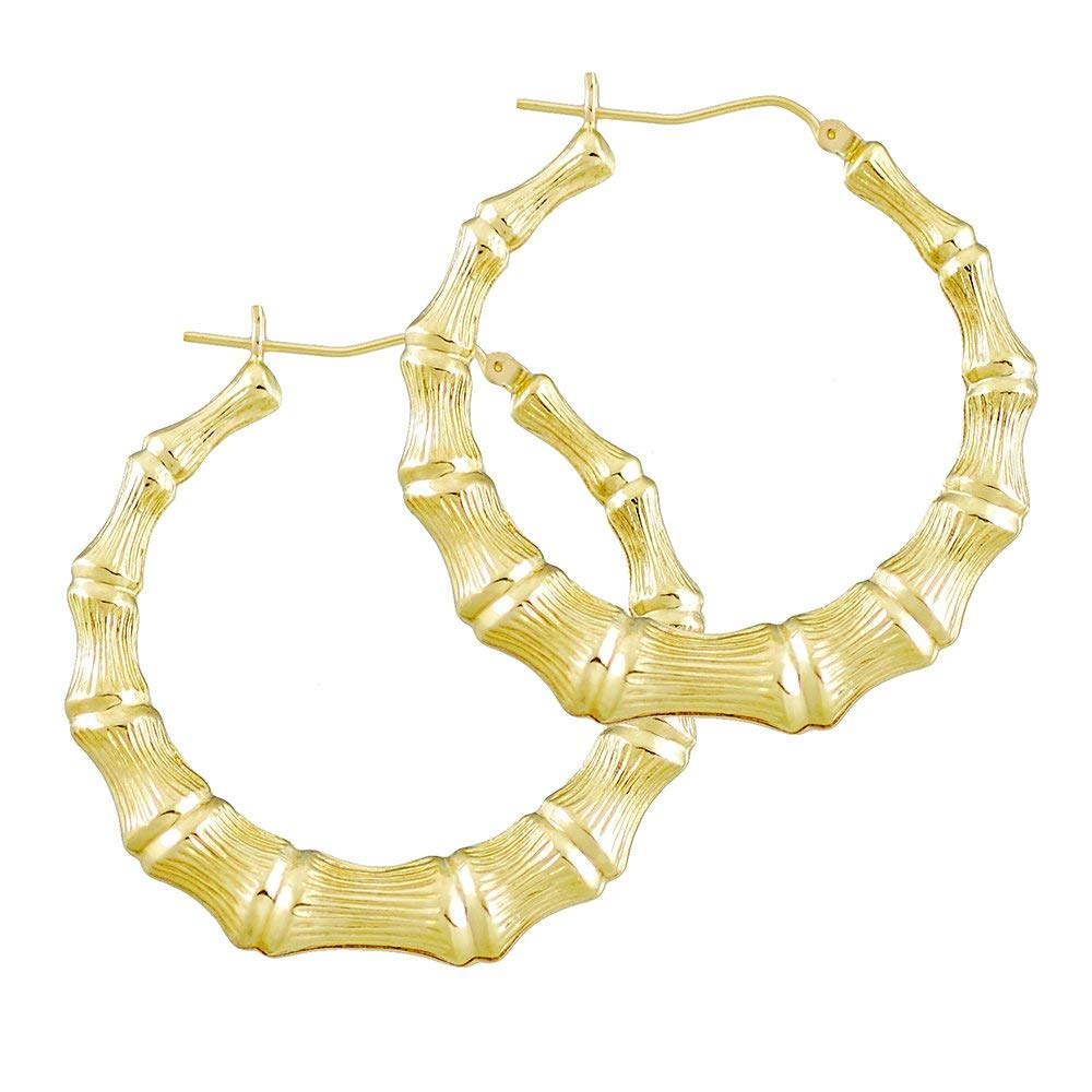 Get Quotations 14k Gold Round Bamboo Hollow Hoop Earrings High Polished 1 11 16 Inches