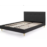High quality modern button tufted upholstered fabric queen bed frame