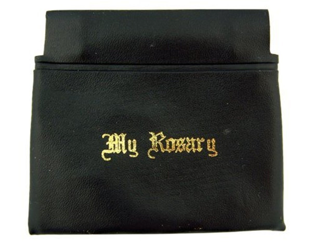 """Gold Stamp Lettering """"My Rosary"""" Black Vinyl Squeeze Case, 3 1/4 Inch"""