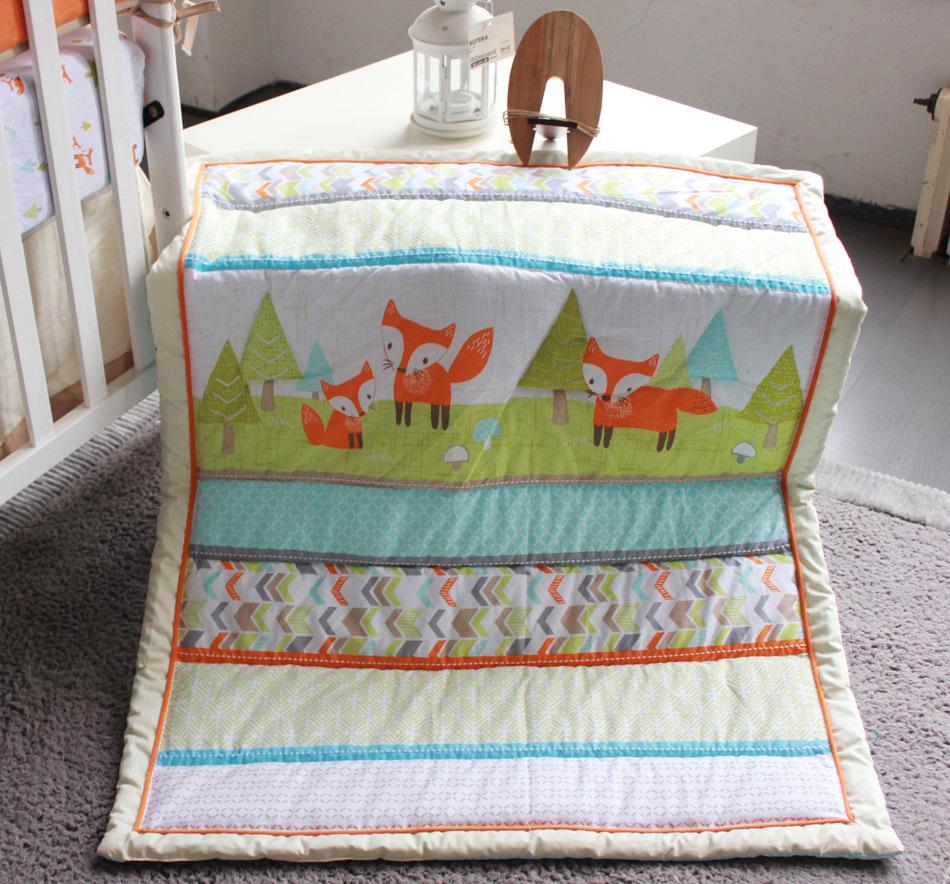 2015 New 7 Pcs Baby Bedding Set Baby Bed Set Fox Cartoon