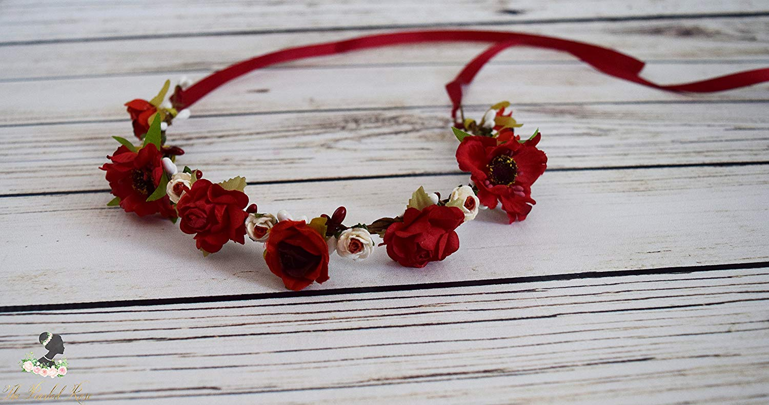 Handcrafted Red and Off White Flower Crown - Wildflower Rose Halo - Wedding Hair Wreath - Red Bridal Flower Crown - Renaissance Flower Crown