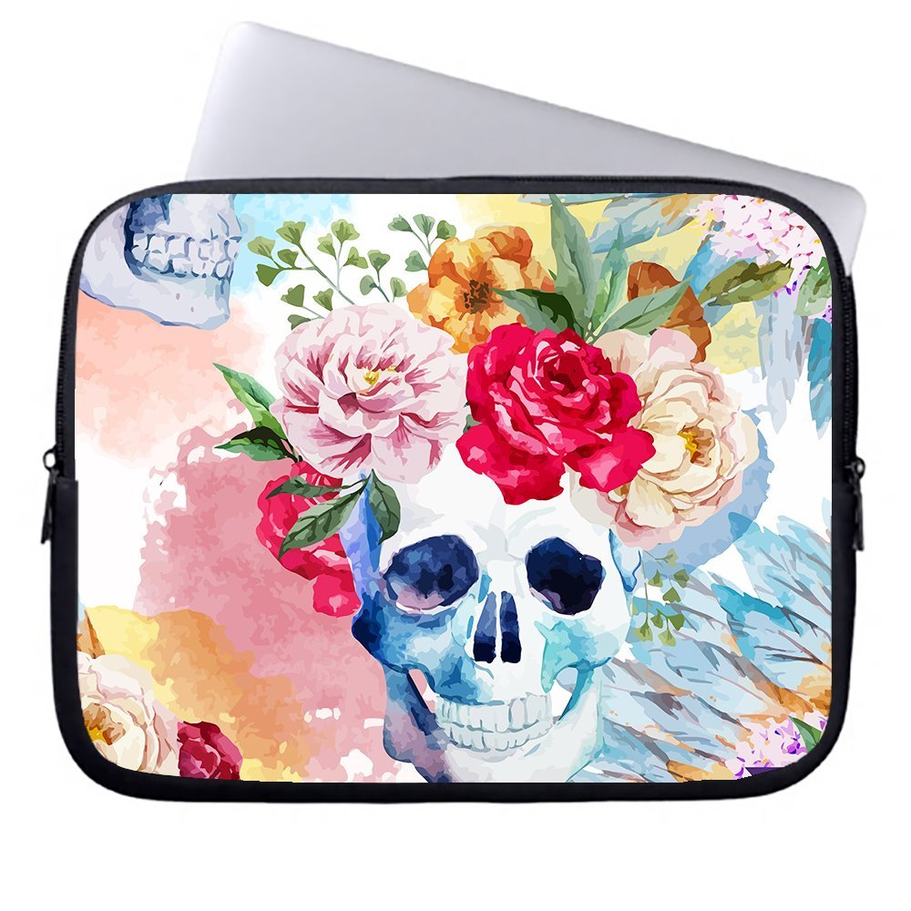 Floral Skull 15 15.6-Inch Laptop Briefcase Neoprene Protective Sleeve Case With Accessory Sleeve Case for 15 15.6-Inch Laptop,Chromebook,Ultrabook,Macbook,Netbook