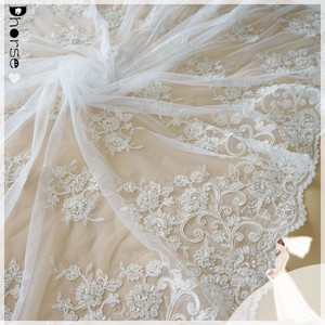 Beaded Alencon Lace Fabric Trim for Bridals, Gowns, Veils, Shrugs DH-BF514