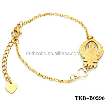 6352b8c8a Simple Design 18K Gold Plated Stainless Steel Charm Bracelet For Girls