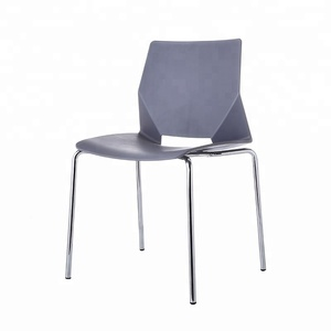 Stackable Chromed Metal Legs Plastic Chair Used Office Meeting
