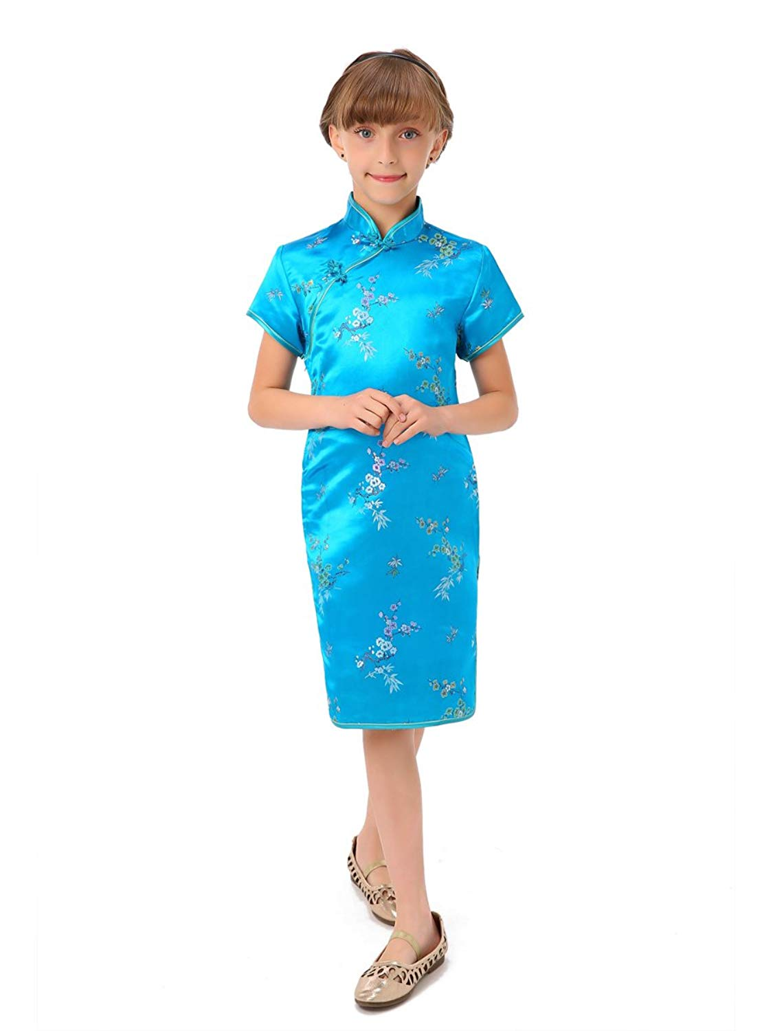 6434db284 Get Quotations · Blossom and Leaves Little Chinese Qipao Dress Peacock Blue