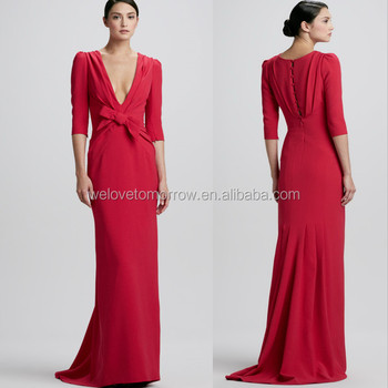 Elbow-sleeve Plunging-v Gown Maxi Dresses,Pakistani New Style ...