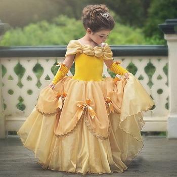 Girls Cartoon Fancy Dress Kids Yellow Off Shoulder Princess Party